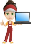 Courier Girl Cartoon Vector Character AKA Hailey the Jumpsuited - Laptop 2