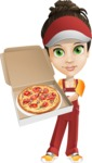 Courier Girl Cartoon Vector Character AKA Hailey the Jumpsuited - Pizza