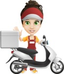Courier Girl Cartoon Vector Character AKA Hailey the Jumpsuited - Scooter