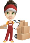 Courier Girl Cartoon Vector Character AKA Hailey the Jumpsuited - Box Delivery 10