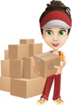 Courier Girl Cartoon Vector Character AKA Hailey the Jumpsuited - Box Delivery 11