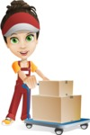 Courier Girl Cartoon Vector Character AKA Hailey the Jumpsuited - Box Delivery 13