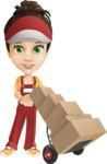 Courier Girl Cartoon Vector Character AKA Hailey the Jumpsuited - Box Delivery 14