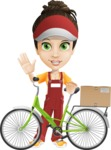 Courier Girl Cartoon Vector Character AKA Hailey the Jumpsuited - Bike Delivery