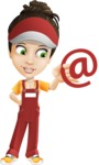 Courier Girl Cartoon Vector Character AKA Hailey the Jumpsuited - Email