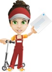 Courier Girl Cartoon Vector Character AKA Hailey the Jumpsuited - Letter 6