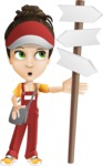 Courier Girl Cartoon Vector Character AKA Hailey the Jumpsuited - Crossroad