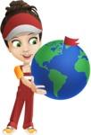 Courier Girl Cartoon Vector Character AKA Hailey the Jumpsuited - Earth