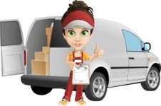 Courier Girl Cartoon Vector Character AKA Hailey the Jumpsuited - Delivery Car