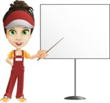 Courier Girl Cartoon Vector Character AKA Hailey the Jumpsuited - Presentation 1