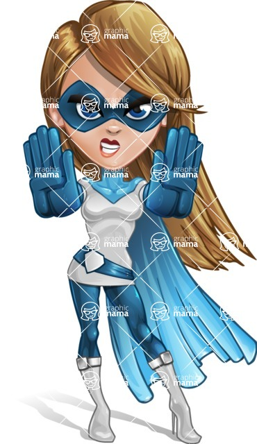 Pretty Superhero Woman Cartoon Vector Character AKA Tina Rocket - Stop 1