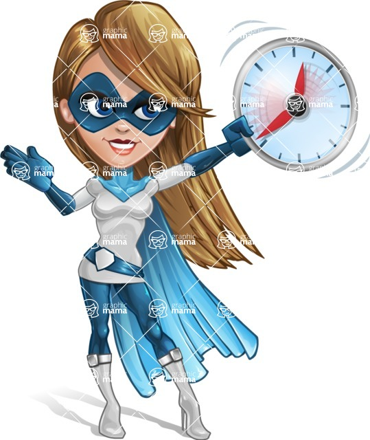 Pretty Superhero Woman Cartoon Vector Character AKA Tina Rocket - Time is Yours