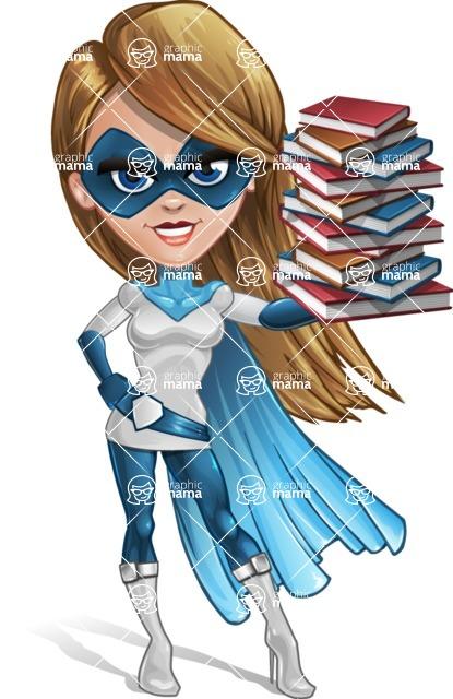 Pretty Superhero Woman Cartoon Vector Character AKA Tina Rocket - Books 3
