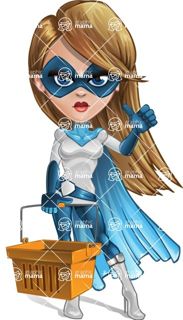 Pretty Superhero Woman Cartoon Vector Character AKA Tina Rocket - Shopping