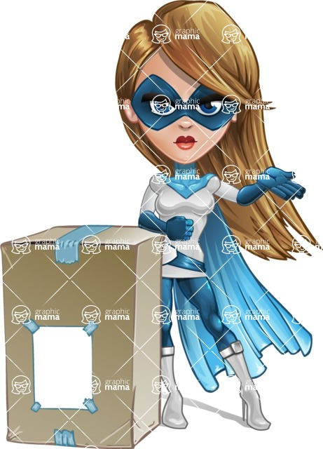 Pretty Superhero Woman Cartoon Vector Character AKA Tina Rocket - Delivery 1