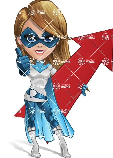 Pretty Superhero Woman Cartoon Vector Character AKA Tina Rocket - Arrow 1