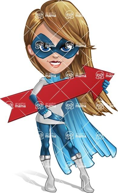 Pretty Superhero Woman Cartoon Vector Character AKA Tina Rocket - Arrow 2
