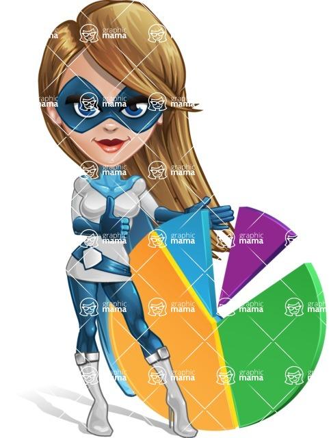 Pretty Superhero Woman Cartoon Vector Character AKA Tina Rocket - Chart