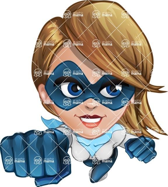 Pretty Superhero Woman Cartoon Vector Character AKA Tina Rocket - Fly 2