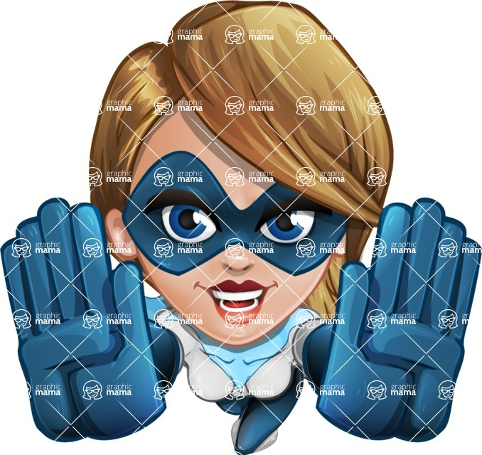 Pretty Superhero Woman Cartoon Vector Character AKA Tina Rocket - Fly 3