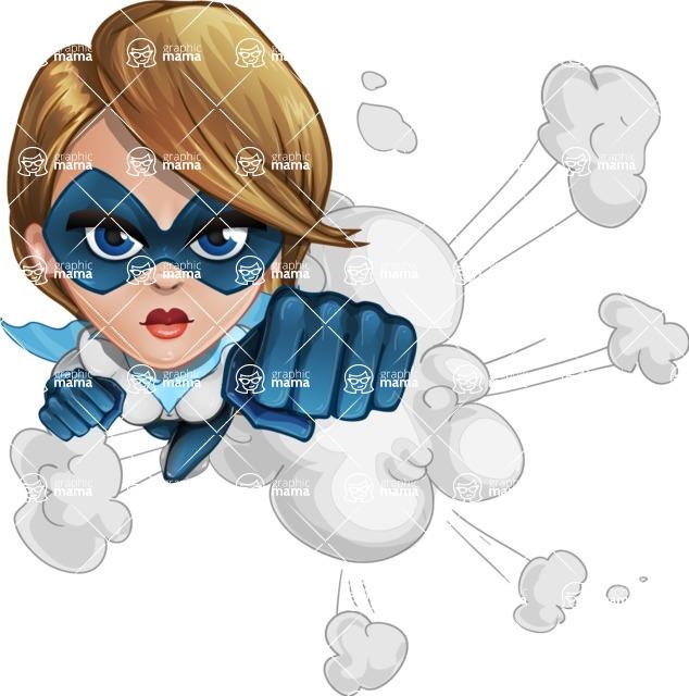 Pretty Superhero Woman Cartoon Vector Character AKA Tina Rocket - Shape 2