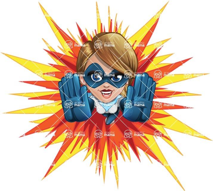 Pretty Superhero Woman Cartoon Vector Character AKA Tina Rocket - Shape 3