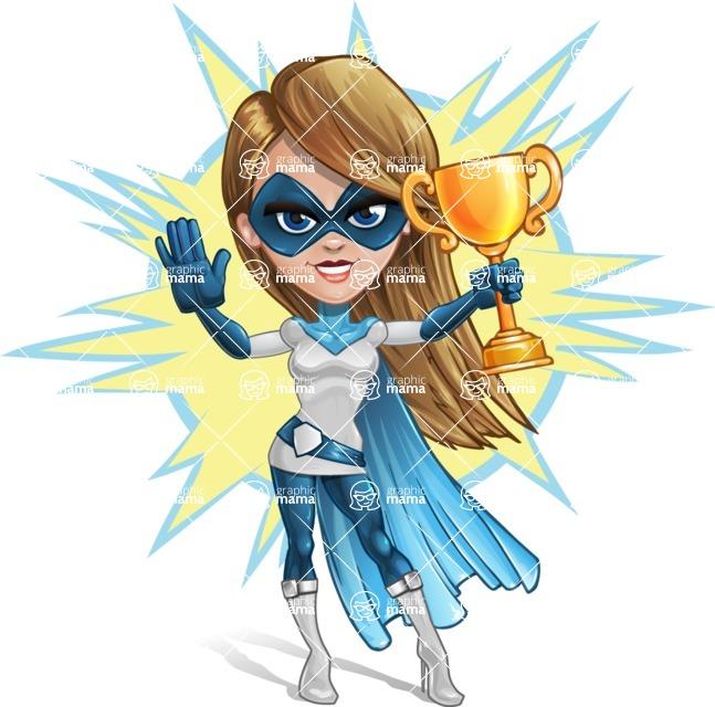 Pretty Superhero Woman Cartoon Vector Character AKA Tina Rocket - Shape 8