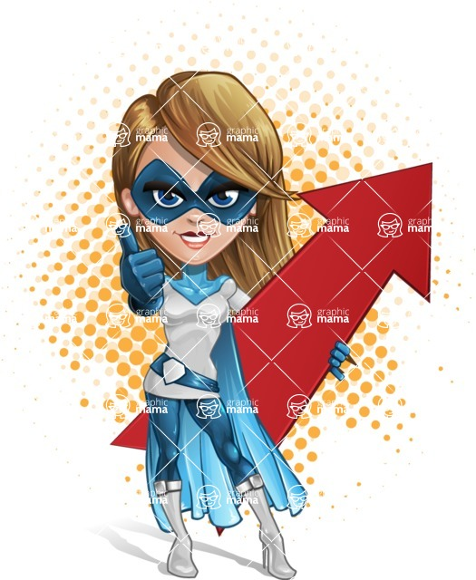 Pretty Superhero Woman Cartoon Vector Character AKA Tina Rocket - Shape 11