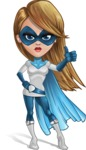 Pretty Superhero Woman Cartoon Vector Character AKA Tina Rocket - Normal