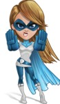 Pretty Superhero Woman Cartoon Vector Character AKA Tina Rocket - Stop 1