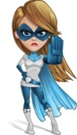 Pretty Superhero Woman Cartoon Vector Character AKA Tina Rocket - Stop 2