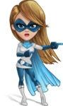 Pretty Superhero Woman Cartoon Vector Character AKA Tina Rocket - Point 2