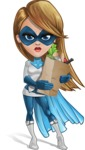 Pretty Superhero Woman Cartoon Vector Character AKA Tina Rocket - Food Stuff