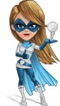 Pretty Superhero Woman Cartoon Vector Character AKA Tina Rocket - Key