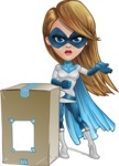 Pretty Superhero Woman Cartoon Vector Character AKA Tina Rocket - Delivery 1