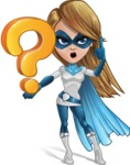 Pretty Superhero Woman Cartoon Vector Character AKA Tina Rocket - Question