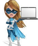 Pretty Superhero Woman Cartoon Vector Character AKA Tina Rocket - Notebook 2