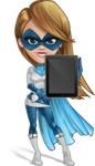 Pretty Superhero Woman Cartoon Vector Character AKA Tina Rocket - Tablet 2
