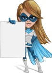 Pretty Superhero Woman Cartoon Vector Character AKA Tina Rocket - Presentation 2