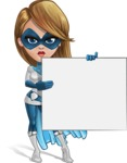 Pretty Superhero Woman Cartoon Vector Character AKA Tina Rocket - Presentation 3