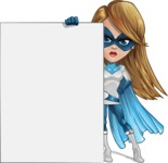 Pretty Superhero Woman Cartoon Vector Character AKA Tina Rocket - Presentation 5