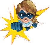 Pretty Superhero Woman Cartoon Vector Character AKA Tina Rocket - Shape 1
