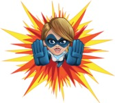 Pretty Superhero Woman Cartoon Vector Character AKA Tina Rocket - Shape 3