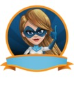 Pretty Superhero Woman Cartoon Vector Character AKA Tina Rocket - Shape 4