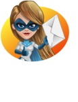 Pretty Superhero Woman Cartoon Vector Character AKA Tina Rocket - Shape 5