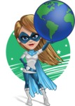 Pretty Superhero Woman Cartoon Vector Character AKA Tina Rocket - Shape 6