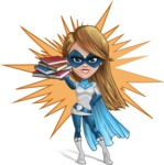 Pretty Superhero Woman Cartoon Vector Character AKA Tina Rocket - Shape 7
