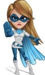 Pretty Superhero Woman Cartoon Vector Character AKA Tina Rocket - Angry 1