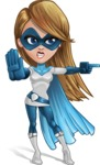 Pretty Superhero Woman Cartoon Vector Character AKA Tina Rocket - Angry 2