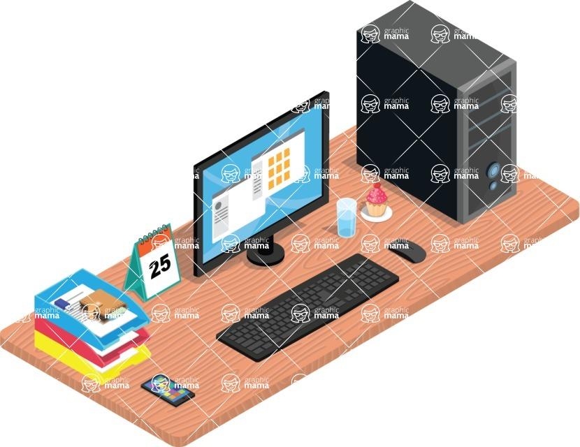 Vector Office Desk Graphic Maker - Office Desk-2